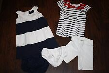 Gymboree girls Size 2-3T navy blue and white striped top/dress/bloomers 5 pc lot