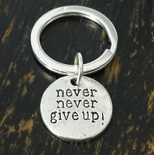 Never Give Up Keychain, Winston Churchill Quote, Motivational Keychain