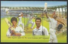INDIA 2013 SACHIN TENDULKAR 200th CRICKET TEST MATCH 2v Souvenir Sheet MNH