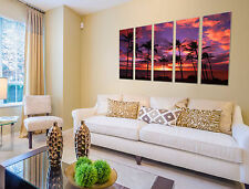 Sunset beach print on canvas, beach canvas prints 5 panel print sunset wall art