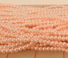 "12 60"" strands pink plastic pearl beads 4mm round"
