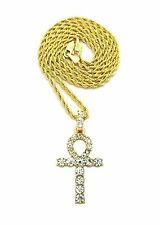 Men Iced Out hip Hop Ankh Cross Cubic Zirconia Pendant Rope Chain Necklace DS010