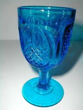 Fenton Glass Colonial Blue PINEAPPLE Water Goblet