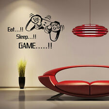 New Eat Sleep Game Letters Game Controller Vinyl Wall Stickers for Boys Bedroom