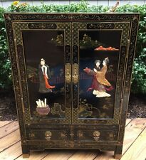 CHINESE BLACK LACQUER HARDSTONE CABINET SIDE TABLE