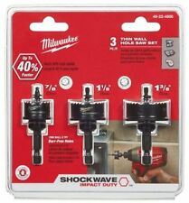 Milwaukee 49-22-4800 Thin Wall Shockwave Hole Saw 3 PC set  For Plastic metal