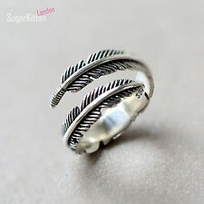 Solid 925 Sterling Silver Adjustable Mens Womens Feather Little Finger Ring UK L