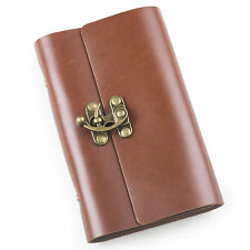 Ancicraft Leather Journal Notebook Refillable with Retro Lock Red Brown A6 Blank