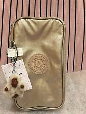 NWT Kipling AC8069 Gleaming Gold Metal Kay GM Pencil Or Cosmetics Case