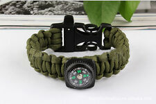 Army Green Bracelet Outdoor Survival Equipment  Compass Buckle Whistle