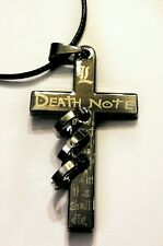 Death Note anime cross L gun metal coloured necklace black cord 18 inch