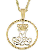 "Denmark Pendant & Necklace Handcut Coin14K & Rhodium Plated 5/8""Diameter( # 83 )"