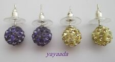 Pack 2 pairs of Crystal Disco Ball Beads stud Earrings Mix colour.