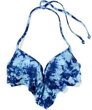 Nwt Victorias Secret PINK Swim Flounce PUSH-UP Bikini Top Blue Tie Dye S