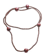 Wooden Cherry Red Oval & Chrome Beads / Black Strand Hook on Necklace(Zx175)