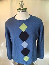Men's James Pringle Wool Crew Neck Sweater Blue Size XL Diamond Patterned