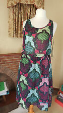 BNWT MULTICOLOURD FLOATY OPEN BACK   DRESS - H&M  - SIZE  L 16 18