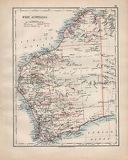 1902 MAP ~ WEST AUSTRALIA SHOWING GOLDFIELDS RAILWAYS SUBMARINE TELEGRAPH