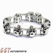 Heavy and Study Mens Stainless Steel Biker Skull Bracelet For Harley Fishion