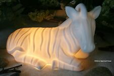 POTTERY BARN GLOWING ZEBRA LAMP -NIB- YOU'LL SURELY EARN YOUR STRIPES FOR DÉCOR!