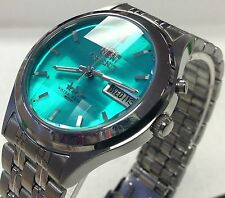 Reloj Orient Green Dial Men's  9 Faceted Crystal Automátic Silver Watch Box  F S
