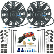 "TWIN 7"" INCH ELECTRIC FANS 3/8"" GROUNDING THERMO T-STAT SWITCH RACE CAR HOT-ROD"