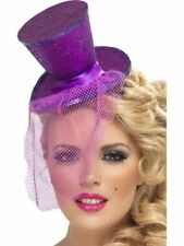 Ladies Womens Girl Fever Sexy Mini Top Hat Headband Purple Fancy Dress Burlesque