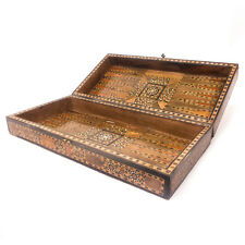 Vintage Inlaid Wood Backgammon Chess Board Box