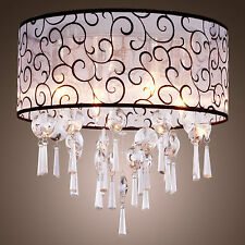Crystal Chandelier Light Pendant Fabric Ceiling Hanging Lamp Flush LUXURY 2016