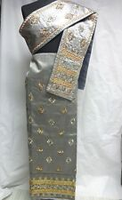 Laos Gray Silk Fabric+Pha Biang/Scarf Golden &Silver Embroidery Wedding Dress
