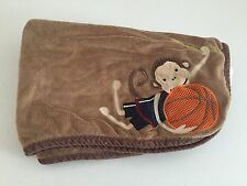 Lambs Ivy Brown Monkey Baby Blanket Basketball Sports Orange Plush