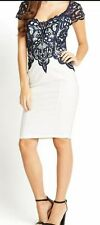 LIPSY VIP NAVY LACE APPLIQUE TOP AND SHOULDERS BODYCON DRESS SIZE 10 RRP£92