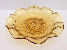 STUNNING ART DECO AMBER GLASS SWEET DISH / BOWL - BAGLEY / DAVIDSON / SOWERBY