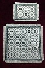 BLUE AREA & ACCENT RUG SET ~ DOLLHOUSE ~ HAND CROSS STITCH DOLLHOUSE RUGS 1/12