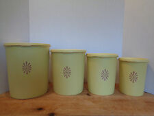 Vintage Tupperware Canister Set of 8 Pieces Yellow Gold Servalier Retro Nesting
