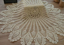 "32"" Hand Crochet Round Table Cloth Runner Topper Cream Pineapple Cotton"