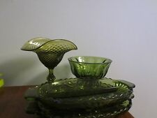 VINTAGE LOT OF 4 PIECES OF GREEN GLASS PEDESTAL CANDY BOWL RELISH DISH
