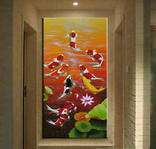 Large MODERN ABSTRACT OIL PAINTING Feng Shui Fish Koi Canvas wall Art Framed 66