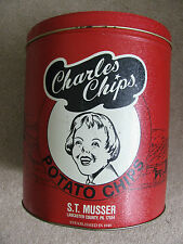 "Vintage Charles Potato Chips 9.5"" Tall Tin Can Red Black & White Commemorative"