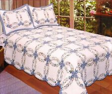 BLUE WEDDING RING Full Queen QUILT SET : COTTAGE ROMANTIC COUNTRY FLORAL GARDEN
