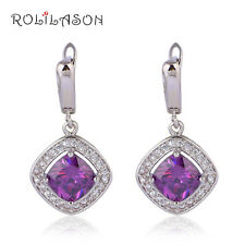 JE1019A Gift Dinner Design Amethyst Drop Earrings Silver Stamped Fashion Jewelry
