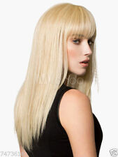 100% Real Hair! Women Fashion Blonde Medium Natural Straight Wig Hair