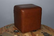 Vintage - Ancien pouffe Pouf carré - Cube - Skaï marron - Tabouret seventies N°4
