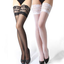 New Sexy Womens Lace Top Sheer Stay Up Thigh High Silk Stockings Pantyhose Black