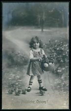 Pretty Child Girl Easter Egg Basket Baby Duck vintage old 1910s photo postcard
