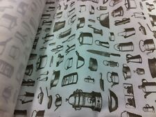 White 100% Cotton Jean Nice Grey Kitchen Accessories Print Fabric