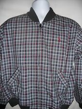 Izod Men's Reversible Golf Jacket Windbreaker Plaid Lined Size Medium Vintage