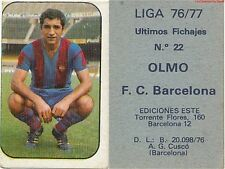 N°022 OLMO ESPANA ULTIMOS FICHAJES FC.BARCELONA CARD TARJETA ESTE LIGA 1977