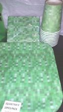NEW! GREEN PIXEL PARTY SUPPLIES! ENOUGH FOR 10! PLATES, NAPKINS, CUPS MINECRAFT