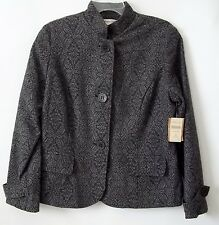 Black & Gray Coldwater Creek Womens Jacquard Blazer Jacket Size 16 NWT